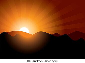 zachód słońca, góry