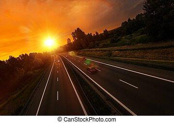 zachód słońca, handel, szosa