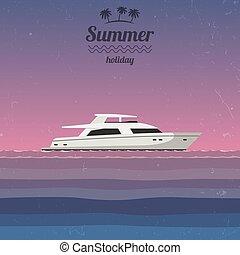 zachód słońca, jacht, morze