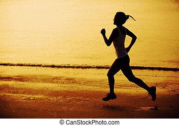 zachód słońca, jogging, kobieta, plaża