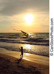 zachód słońca, kania, morze, dziecko