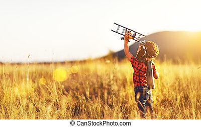 zachód słońca, lotnik, dziecko, samolot, podróżowanie, śni, lato, pilot