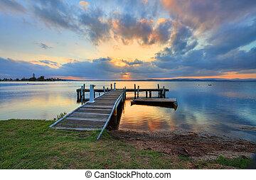 zachód słońca, macuarie, belmont, jezioro