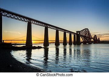 zachód słońca, między, przedimek określony przed rzeczownikami, dwa, mosty, w, queensferry