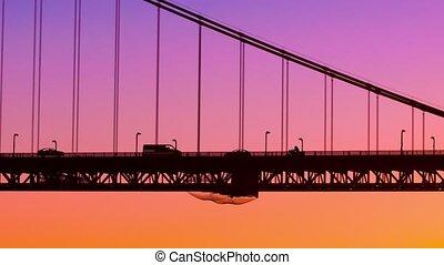 zachód słońca, most, ożywienie, video