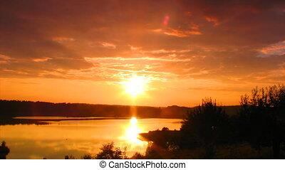 zachód słońca, na, jezioro, timelapse