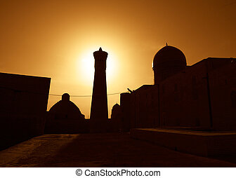 zachód słońca, na, starożytny, miasto, od, bukhara, uzbekistan