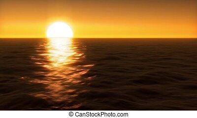 zachód słońca, na, woda