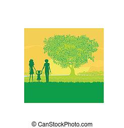 zachód słońca, natura, szczęśliwa rodzina, przechadzki