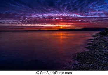 zachód słońca ocean