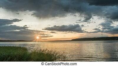 zachód słońca, piękny, upływ czasu, krajobraz, wieczorny,...
