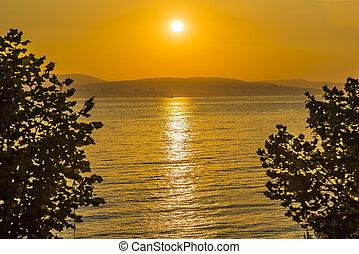 zachód słońca plaża, ocean