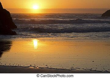 zachód słońca plaża, tło, ocean