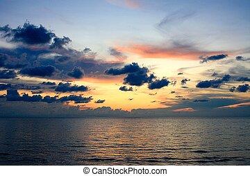 zachód słońca, pomarańcza, backgro, sky., fotografia