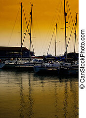 zachód słońca, port