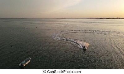 zachód słońca, portugalia, woda, cieszący się, para, łódka, ...