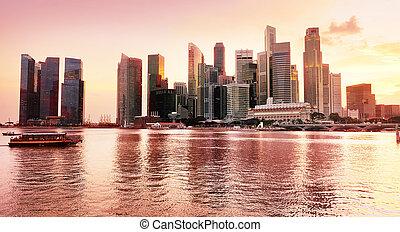 zachód słońca, prospekt, od, singapore