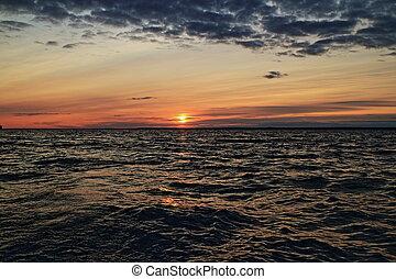zachód słońca, purpurowy, morze