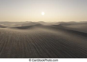 zachód słońca, pustynia