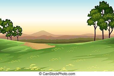 zachód słońca, scena, natura