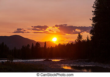 zachód słońca, scena