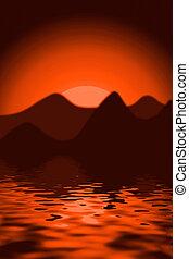 zachód słońca, scenics