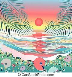 zachód słońca seascape, morze