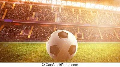 zachód słońca, soccerball, stadion, podczas