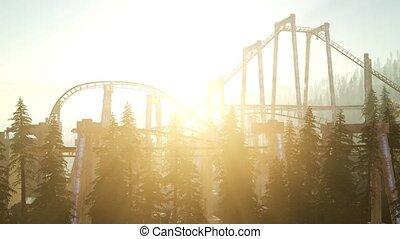 zachód słońca, stary, coaster, las, wałek