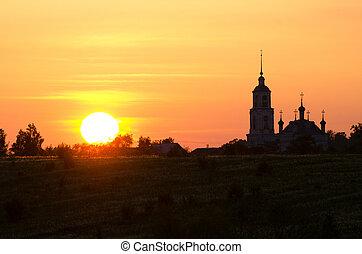 zachód słońca, sylwetka, przeciw, kościół