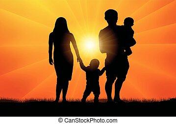 zachód słońca, sylwetka, rodzina