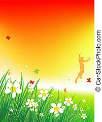 zachód słońca, tło, lato, pole, zielony