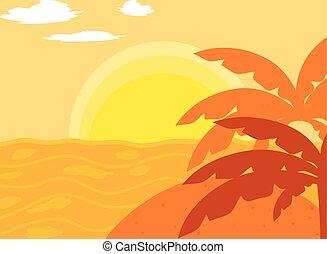 zachód słońca, tropikalny krajobraz, ocean, plaża, dłoń