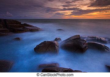 zachód słońca, trzęsie się, kasownik, krajobraz, morze