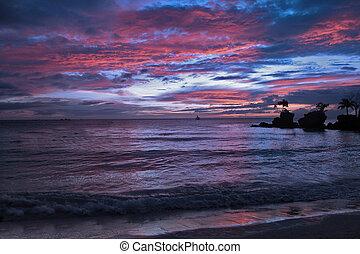 zachód słońca, w, tajlandia, biały piasek, i błękitny, niebo