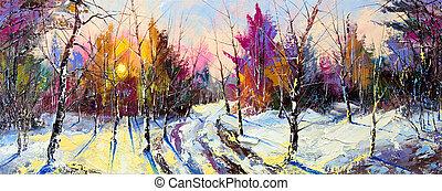 zachód słońca, w, zima, drewno