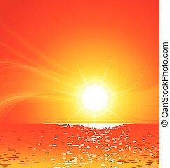 zachód słońca, wektor, ciepły, tropikalna plaża