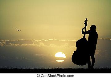 zachód słońca, wiolonczela, człowiek