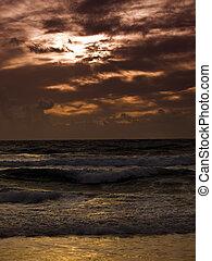 zachód słońca złotego, zatoka