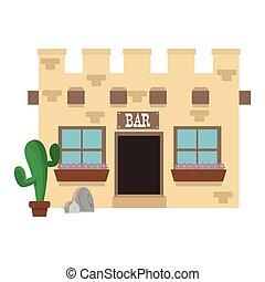 zachód, stary, bar, ikona
