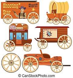 zachód, stary, zbiór, wóz