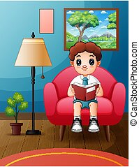 zacht, jongen lees, terwijl, boek, stoel, student, zit