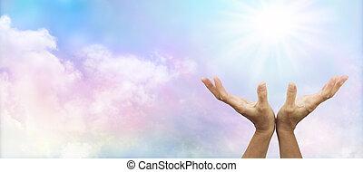 zacht, regenboog, zonnestraal, het helen, banne