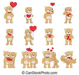 zachte speelbal, knuffelbeertjes, stellen, met, hartjes, verliefd