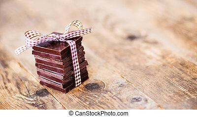 zachwycający, czekolada, dary, made., ręka