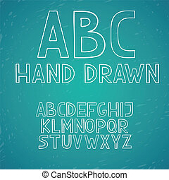 zaciągnąć, abc, beletrystyka, alfabet, ręka, wektor, doodle