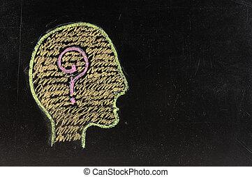 zaciągnąć, barwny, tablica, znak zapytania, mózg, ludzki