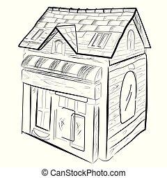zaciągnąć, górny, odizolowany, dom, ręka, rys, biały, prospekt