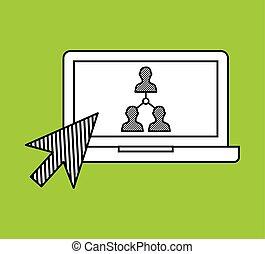 zaciągnąć, grupa, sieć, media, laptop, ręka, towarzyski