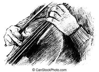 zaciągnąć, klasyczny, gry, rys, instrument, muzyk, ręka